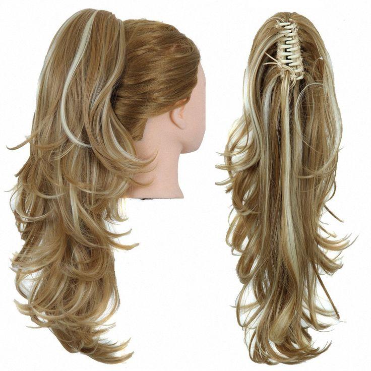 23 Inch 170g Synthetische Lange Golvend Krullend Haarverlenging Paardenstaart Klauw Clip In Pony Staarten Haarstukje Blond Zwart Kleur gratis Verzending
