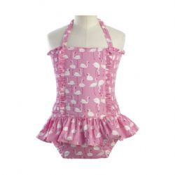 Flamingo Print Sun-Suit from the Rachel Riley collection. In Diana Classic Children store now.