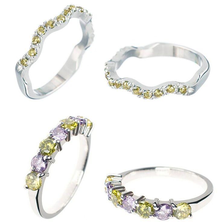 Anelli in argento 925 rodiato e zirconi taglio brillante verdi e viola. #ring #silver #engagmentring #green #violet #stone #rodolfopalermogioielli #handmade #goldsmith #stonesetting #love