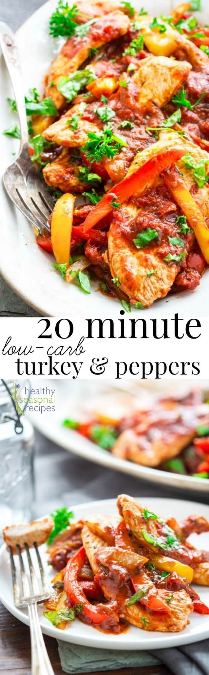 This 20 minute Turkey and Pepper sauté is Paleo, gluten-free, whole 30 and low-carb, so pretty much everyone can enjoy it! @healthyseasonal
