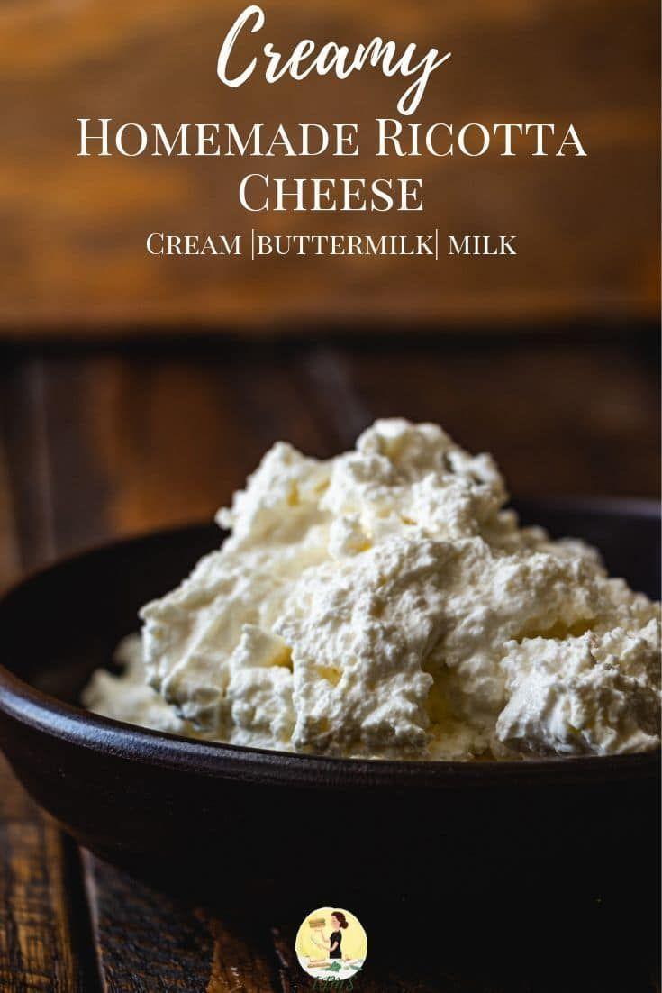 Creamy Homemade Ricotta Cheese Recipe In 2020 No Dairy Recipes Ricotta Cheese Ingredients Recipes