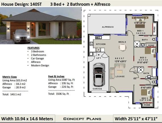 140 M2 1506 Sq Foot 3 Bedroom House Plan 140st Concept House Plans For Sale House Plans For Sale House Plans 2 Bedroom House Plans