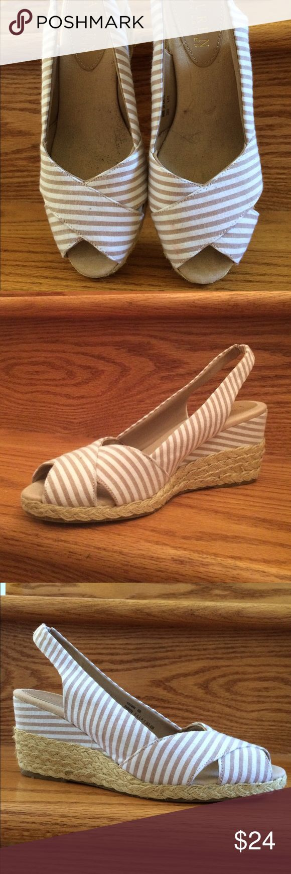 """Like new Ralph Lauren Wedges Perfect condition‼️ Stripped white and tan Ralph Lauren wedges, 3"""" height. Very comfortable. Rauph Lauren Shoes Wedges"""