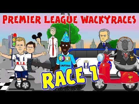 RACE 1!!! Premier League Wacky Races (Cech saves Walker Own Goal Courtois Red Card Eva vs Mourinho) - YouTube