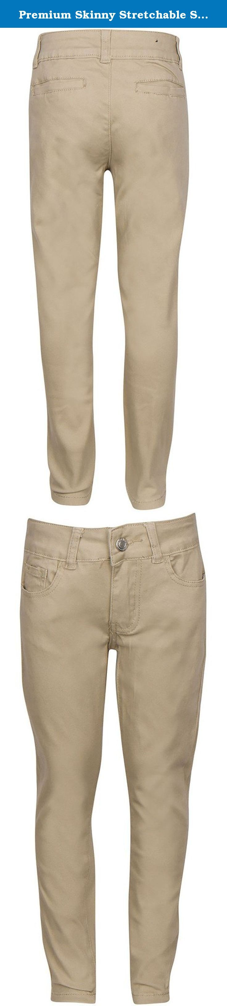 Premium Skinny Stretchable School Uniform Pants for Girls 14 Khaki. Have you been finding it difficult to get a skinny pant with stretchable material that looks stylish too? Or Are you looking for a skinny pant that can be comfortably worn for long durations without causing itching, excessive sweating or irritation? Well, we bring to you a skinny pant design that you will love for its many incredible features and benefits: - Stylish skinny fit with straight leg openings - looks trendy and...