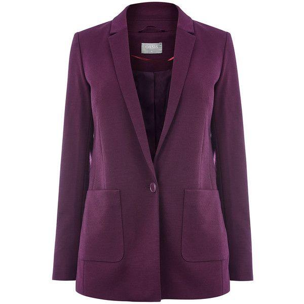 BOYFRIEND BLAZER (195 PEN) ❤ liked on Polyvore featuring outerwear, jackets, blazers, purple jacket, boyfriend blazer, purple blazers, boyfriend blazer jacket and purple blazer jacket