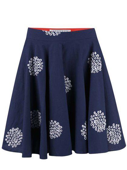 Tmavě modrá vzorovaná sukně Brakeburn Polka