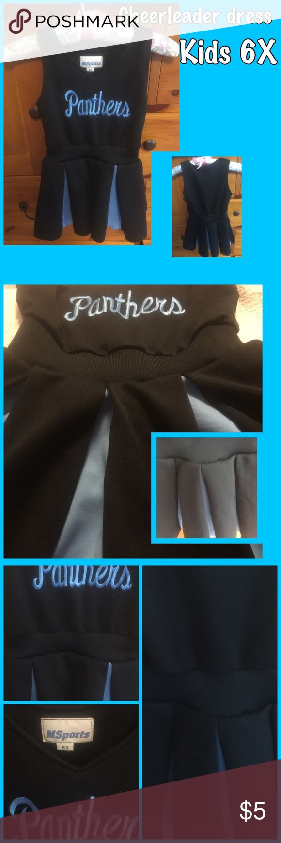 Panthers cheerleading outfit for kid size 6X 100% polyester kids size 6X Panthers black and blue cheerleading outfit Dresses Mini