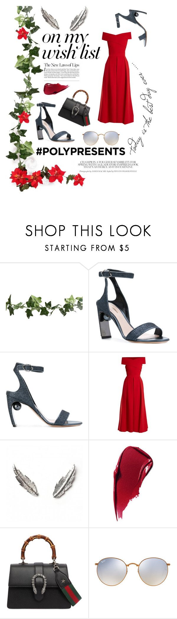"""""""#PolyPresents: Wish List"""" by faustipepa ❤ liked on Polyvore featuring Nicholas Kirkwood, Preen, LeiVanKash, Estée Lauder, Gucci, Ray-Ban, contestentry and polyPresents"""