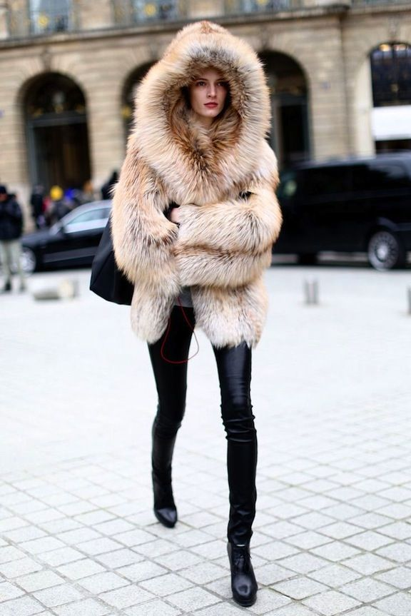 i really like this fur jacket with hood  the whole look