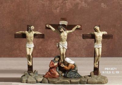 Vendita online di articoli religiosi, statue sacre in resina, bomboniere - Statua in resina di Gesù Crocifisso tra i ladroni cm 12,5 x 19