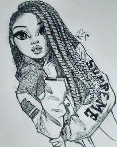 Schwarzweiss-Zeichnung eines Mädchens, Gesichtszeichnung, lange Borten, Oberste Jacke