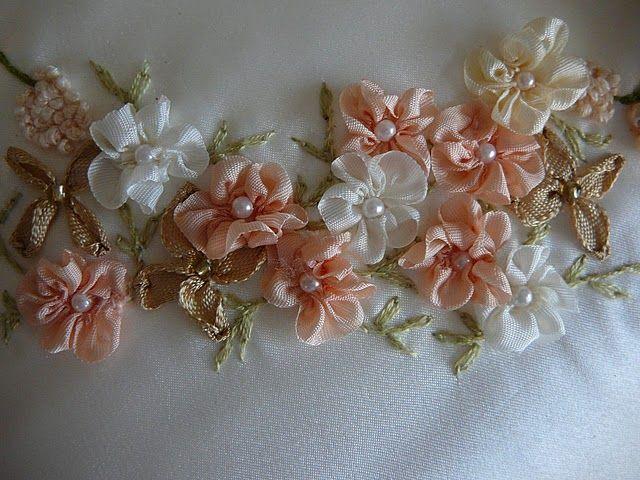 ribbon embroidery | Silk Ribbon Embroidery: Five Petal Flower, Gathered Ribbon Flower.