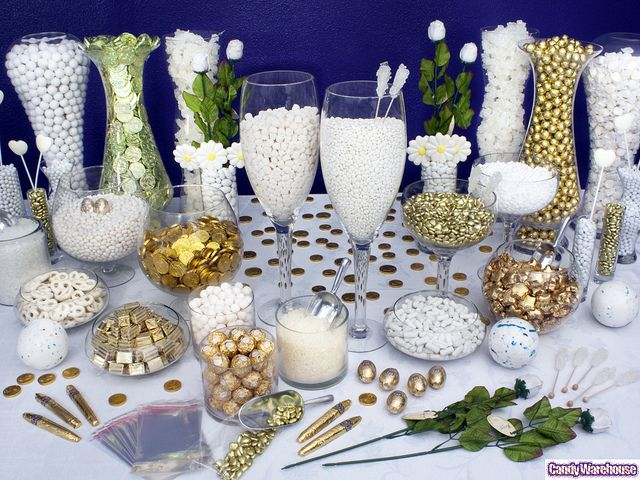 Gold Candy Buffet    Celebrating a 50th anniversary? Create an astounding candy buffet with gold highlights!