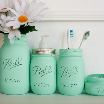 Mason Jar Soap Dispenser Set with from The Little Green Birdie