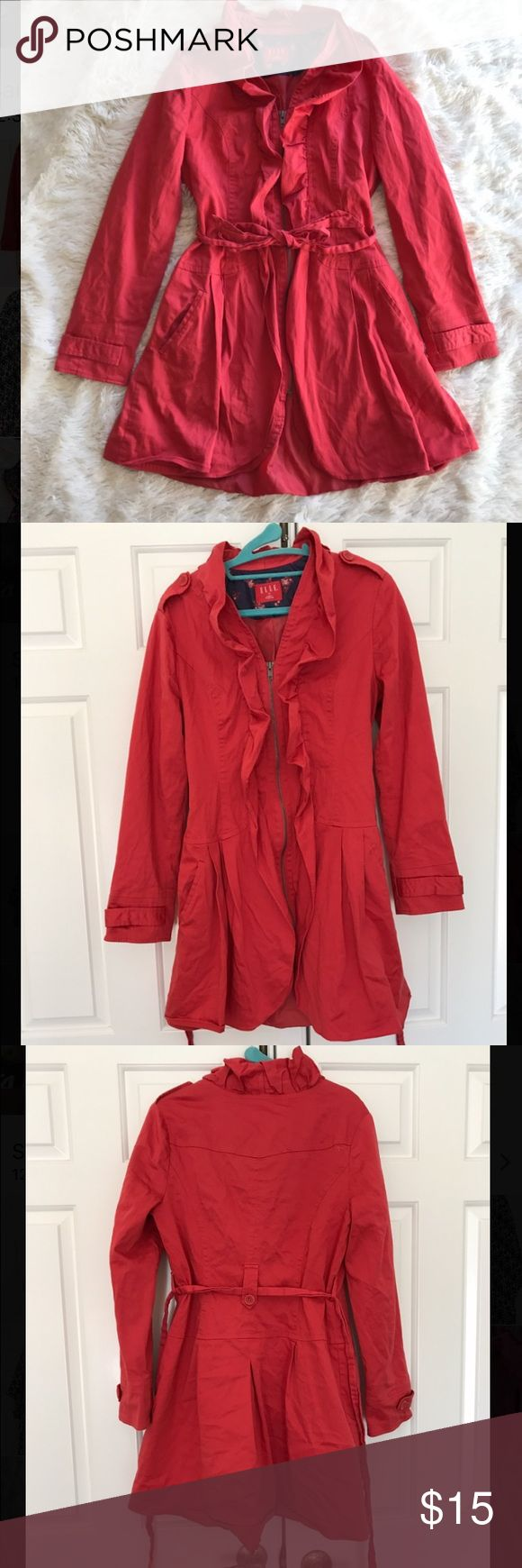 """Coral Jacket Coral jacket that zippers and ties in the front. 29"""" long, previously loved but in great condition. Elle Jackets & Coats"""