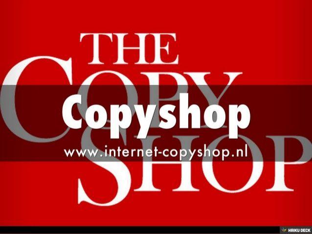 Copyshop is de unieke plaats waar het kopiëren en bindwerk bezet. Copyshop produceert met kam bindingen, speciaal ambachtelijke boeken en kookboeken boek. Copyshop biedt u grote kans met betrekking tot het kopiëren, zoals zwart-wit en kleur vol kopiëren.