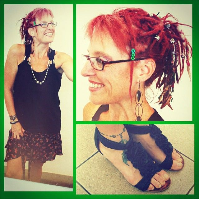 Hello😆 Today I went causal with a cute tie up #skirt with a thick waist band shirt with a built in necklace. And cute little flower low heeled #shoes. #dreads are just up in a casual #dreadupstyle #ponytail. Loving.  #dreadlocks #hippieatheart #hippiedreadheads #hippiespirit #freespirit #freedom #Mindbodyandsoul #earthy #hippiechicktrainer #hippiedreadlocks #rastafari #gypsyspirit #gypsy #bohemian #fashion #hippiefashion #bohemiamfashion #clothes