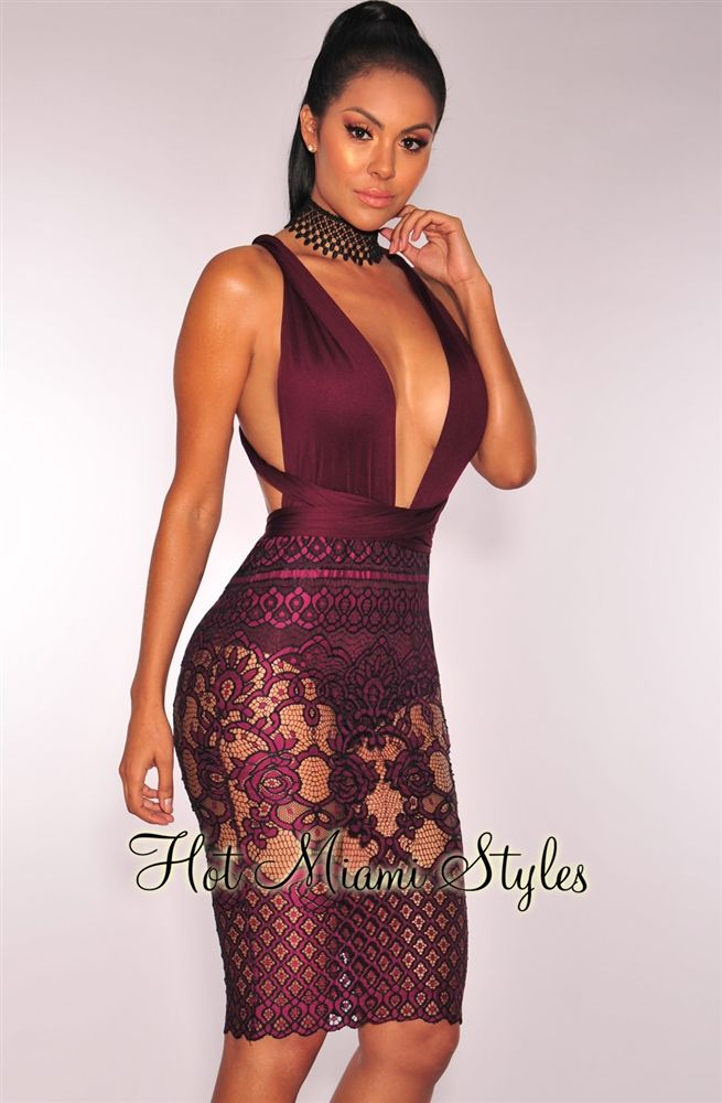 Plum Multi Wear Panty Embroidered Dress Womens clothing clothes hot miami styles hotmiamistyles hotmiamistyles.com sexy club wear evening  clubwear cocktail party kim kardashian dresses