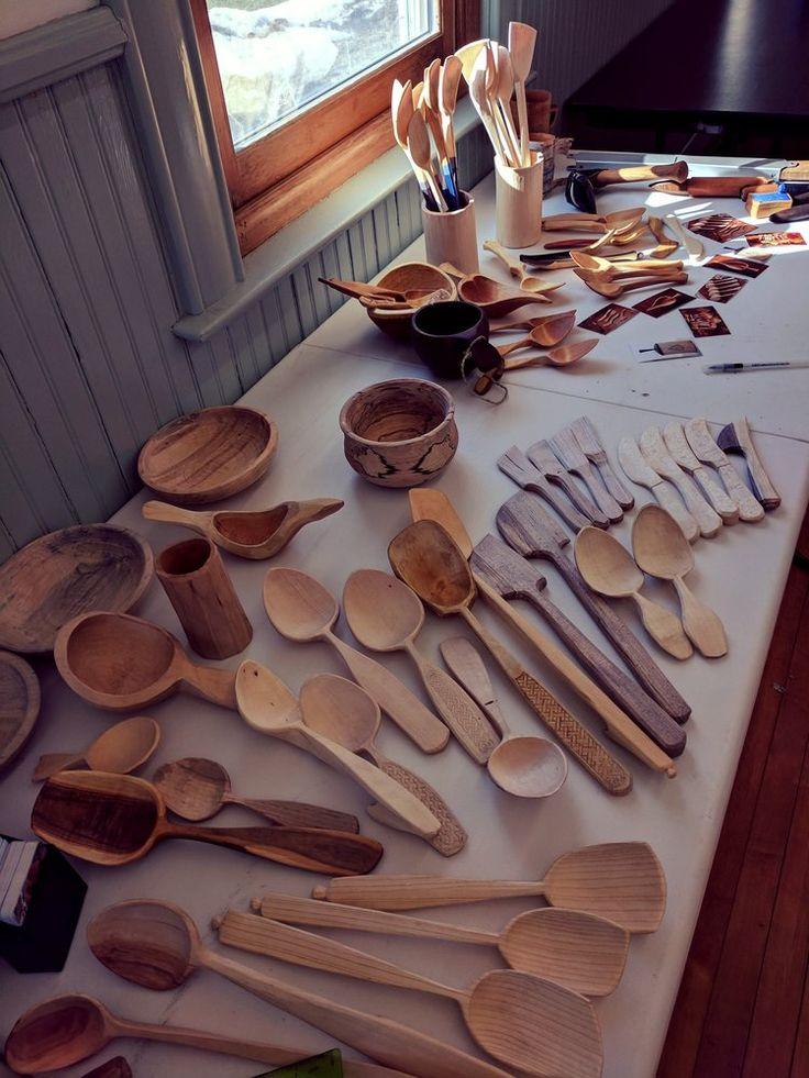 Handmade wood spoons and bowls. Foreground work is mine, background work is Derek's.