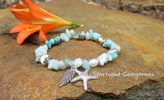 Seafoam - Nature/Beach/Boho Inspired Amazonite & Turquoise with Freshwater Pearl and White Coral + 2 silver charms. Stretch Bracelet.