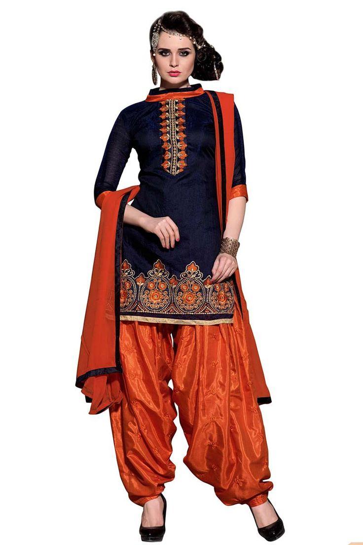 Blue Chanderi Punjabi Suit