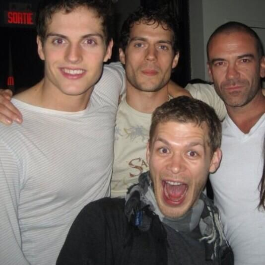 Henry Cavill's Immortals and Tudors co-star Alan Van Sprang shared this photo from filming.  Also pictured is Joseph Morgan (The Originals) & Daniel Sharman (Teen Wolf).
