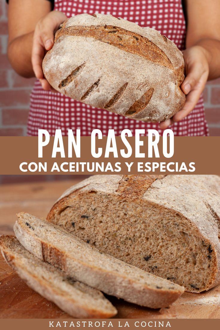 Este pan tiene una miga densa, es bastante pesado, en parte por la presencia de harina integral en la masa. Tiene un aroma y sabor extraordinarios gracias al especias y aceitunas negras que hacen una combinación de lujo; mientras se hornea la casa se impregna de ese olor que transporta e invita a degustar... #PanCasero #PanFacil #PanConAceitunas #PanConEspecias #KatastrofaLaCocina #PanRústica #HarinaIntegral #PanIntegral #aceitunas #receta #cocina #comida Pan Integral, Baked Chicken Wings, Bread, Baking, Recipes, Baked Chicken Fingers, Bread Recipes, Spice, Cookies