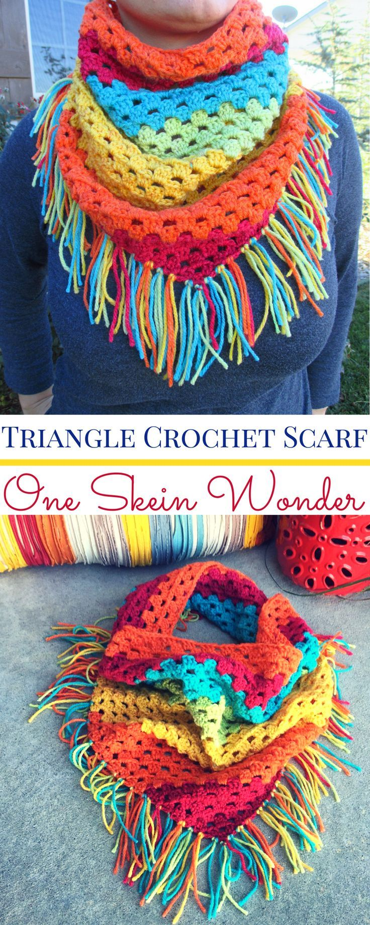 Triangle Crochet Scarf with Fringe (Using Caron Cake Yarn) http://hearthookhome.com/triangle-crochet-scarf-with-fringe/?utm_campaign=coschedule&utm_source=pinterest&utm_medium=Ashlea%20K%20-%20Heart%2C%20Hook%2C%20Home&utm_content=Triangle%20Crochet%20Scarf%20with%20Fringe%20%28Using%20Caron%20Cake%20Yarn%29