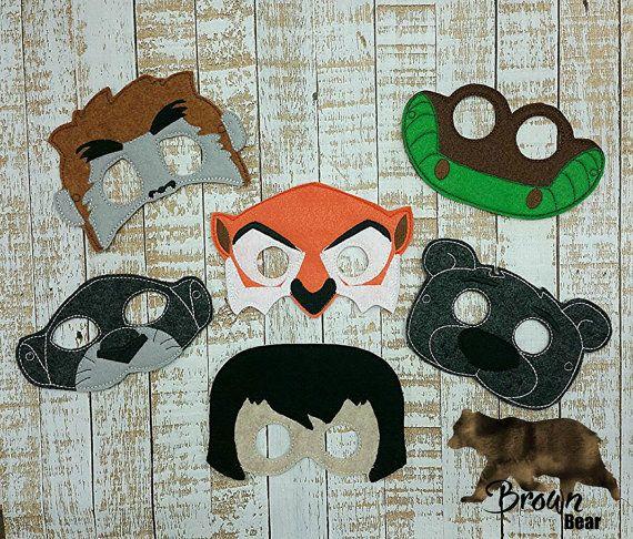 Jungle Book Felt Masks-Birthday party favors by MTBrownBear