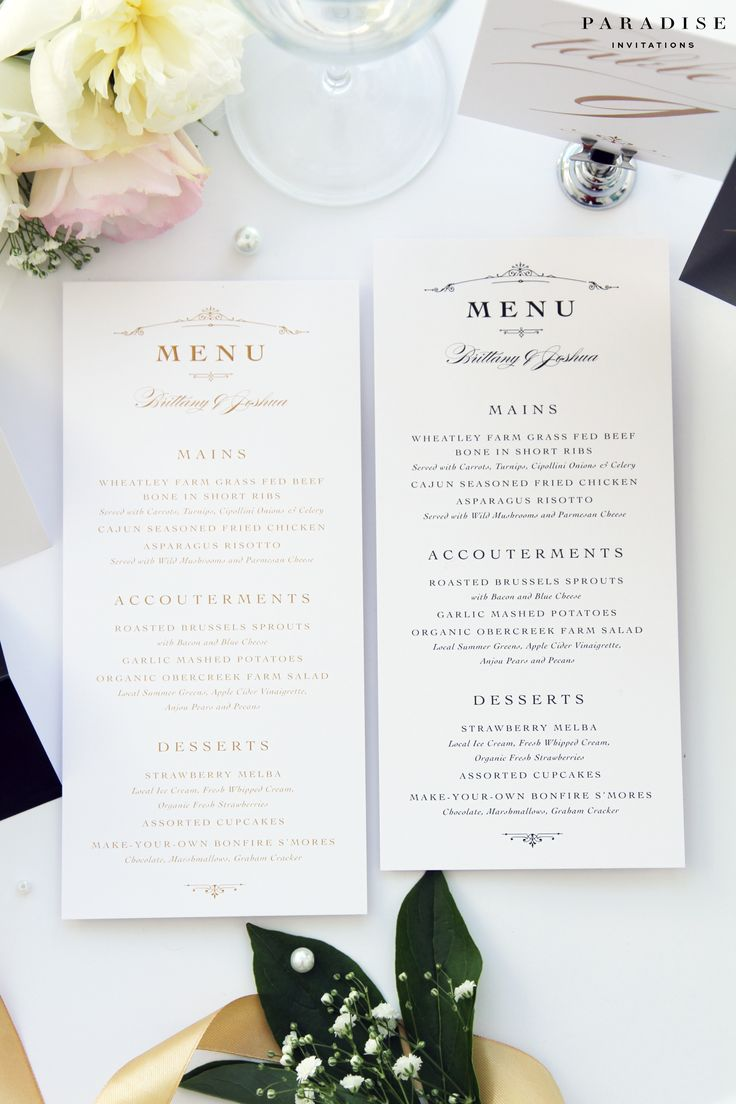 Brooklyn Classy Menus, Suitable for all Events, Golden Menus, Printable Menus or Printed Menu, Monogram Menu