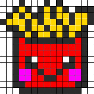Kawaii Fries Perler Bead Pattern / Bead Sprite