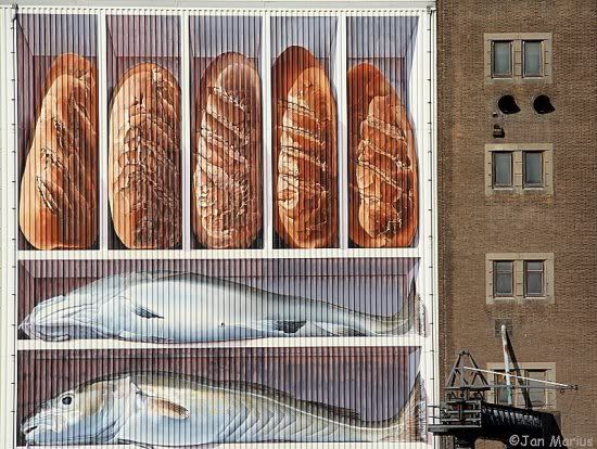 Mural at the Fishing Harbour, Breskens, Zeeland, NL