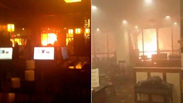Hotel guests film as wildfires surround the Park Vista Hotel in Gatlinburg, Tenn.