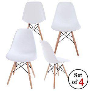Lot de 4 chaises tendance rétro – Blanches