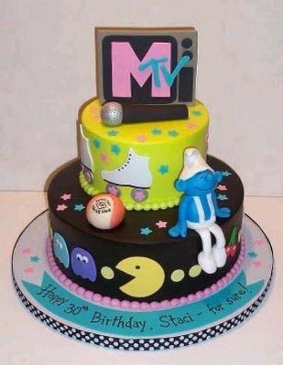 90s Kid Cake Smurf Skates MTV Pacman Theme Party