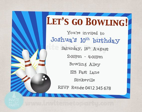 Bowling Party Invitation by InviteMe2Party on Etsy