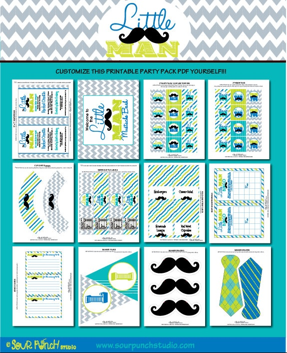 INSTANT DOWNLOAD, Baby Shower, Little Man Mustache Bash Printable Party Package, You Customize. $25.00, via Etsy.