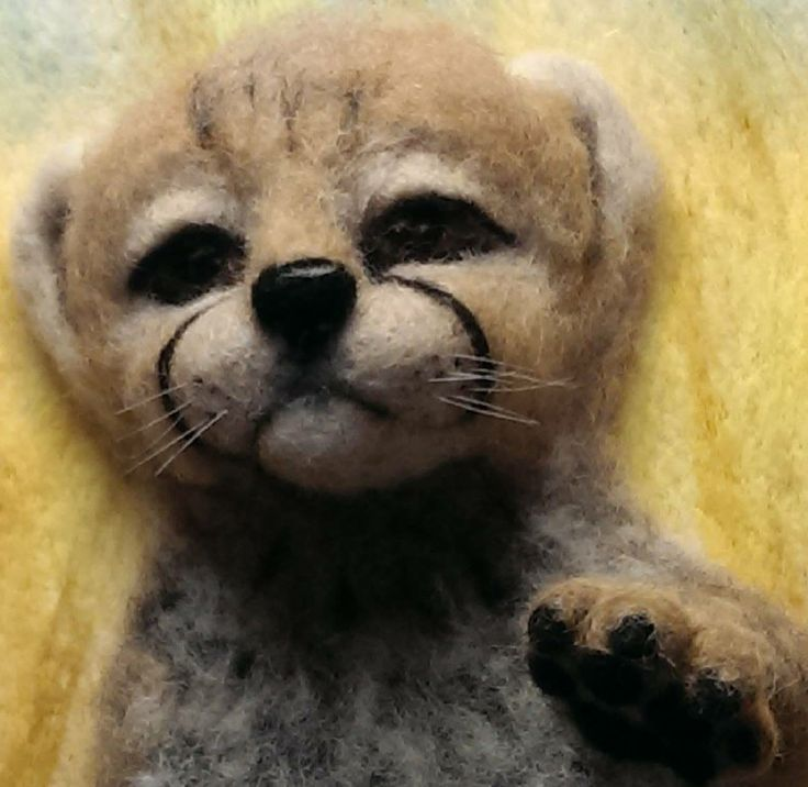 3D needlefelted Cheetah cub, on canvas, by A Quirk of Felt