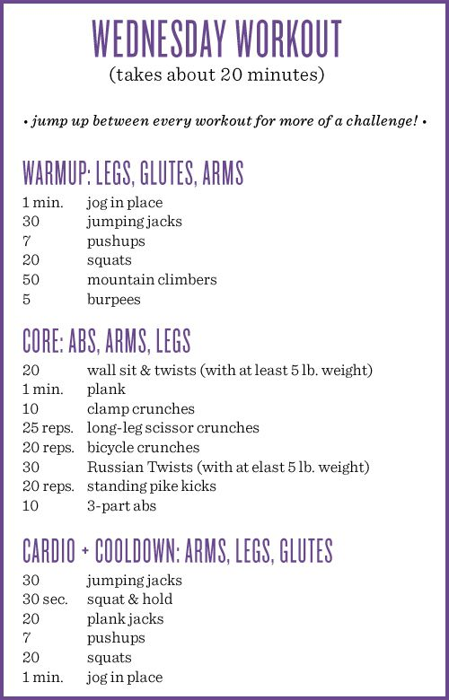 Wednesday workout!  Links to some of the moves:Mountain climbersBurpeesWall sit & twistsClamp crunchesLong-leg scissor crunchesBicycle c...