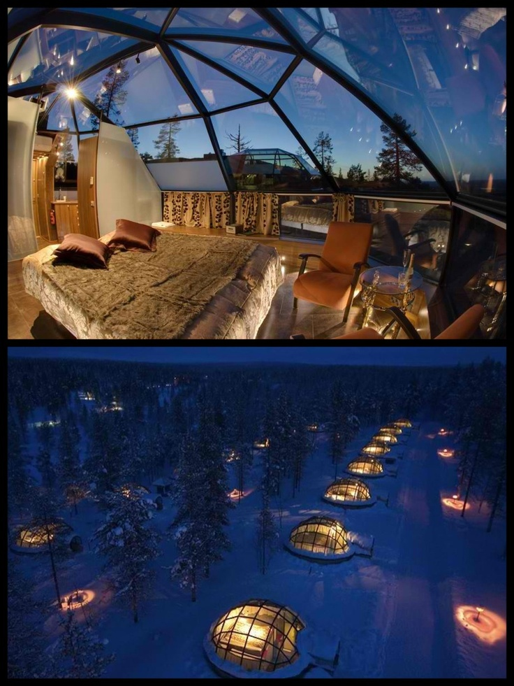and stay in the igloo hotel finland the night sky would be incredible