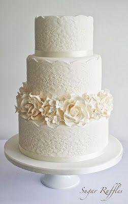 Sugar Ruffles: Lace Wedding Cake With Roses & Hydrangea