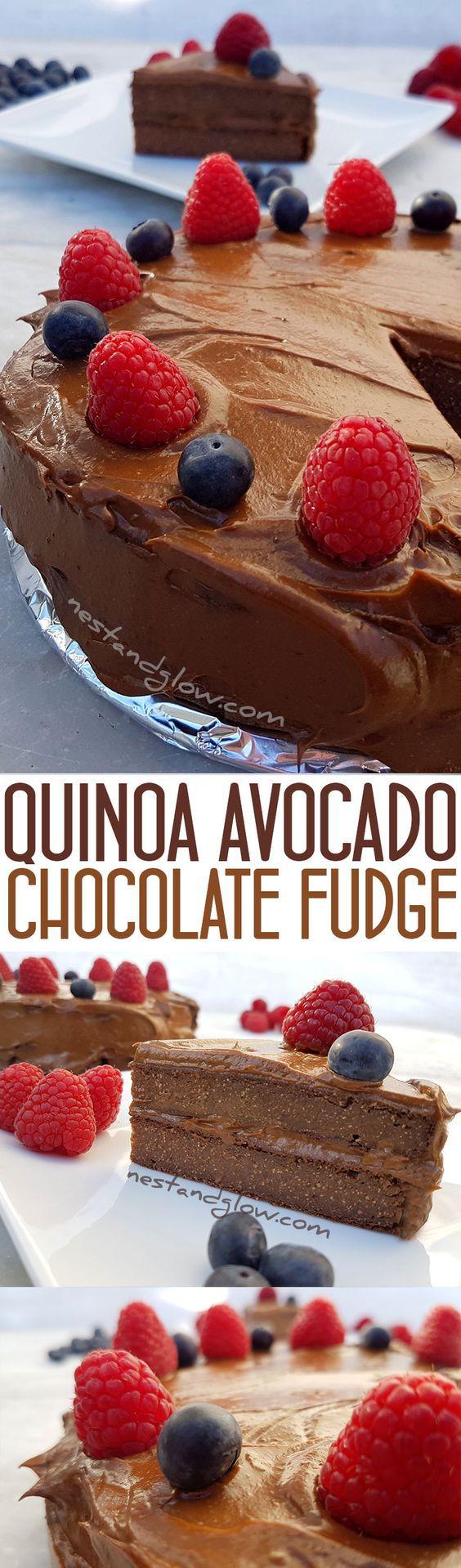 Quinoa Avocado Chocolate Fudge Cake Recipe - Vegan, gluten-free and healthy  via @nestandglow