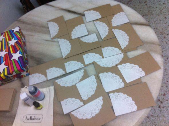 DIY Doily Envelopes :  wedding brown diy doilies doily envelope envelopes inspiration invitations kraft paper white IMG 14321