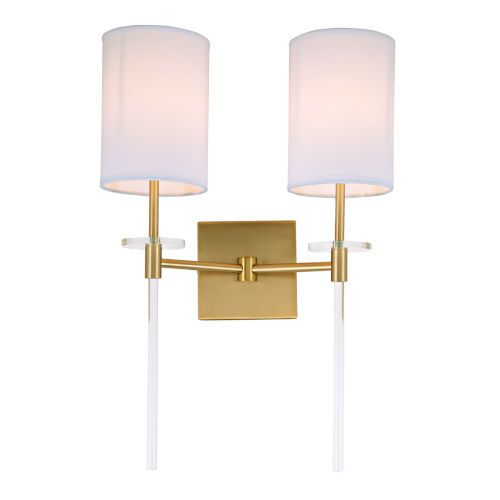 Jvi Designs 1262 10 Sutton 14 In Two Light Wall Sconce In Satin Brass Contemporary Modern Bellacor In 2020 Sconces Wall Lights Wall Sconce Lighting