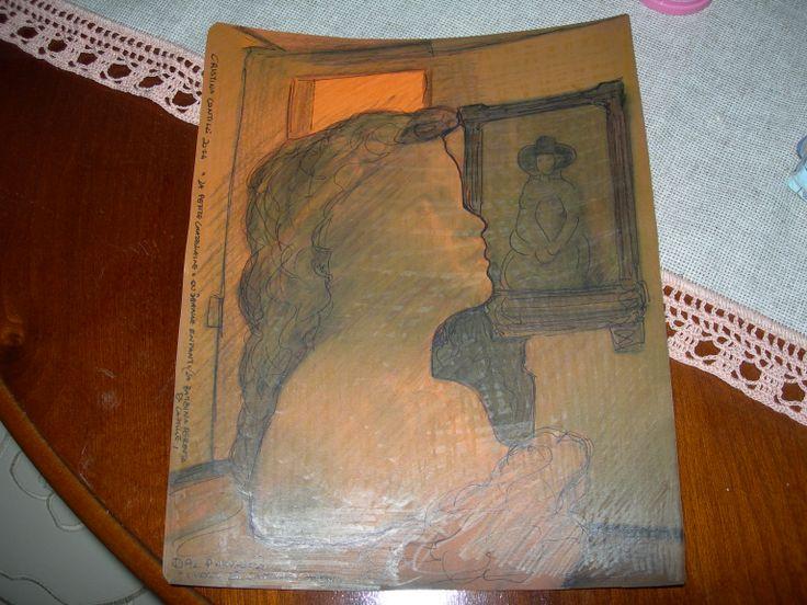 """""""La petite châtelaine o Jeanne enfant (la bambina perduta di Camille)"""" di Cristina Contilli, disegno su cartoncino arancione, per il progetto """"I volti di Camille Claudel"""""""