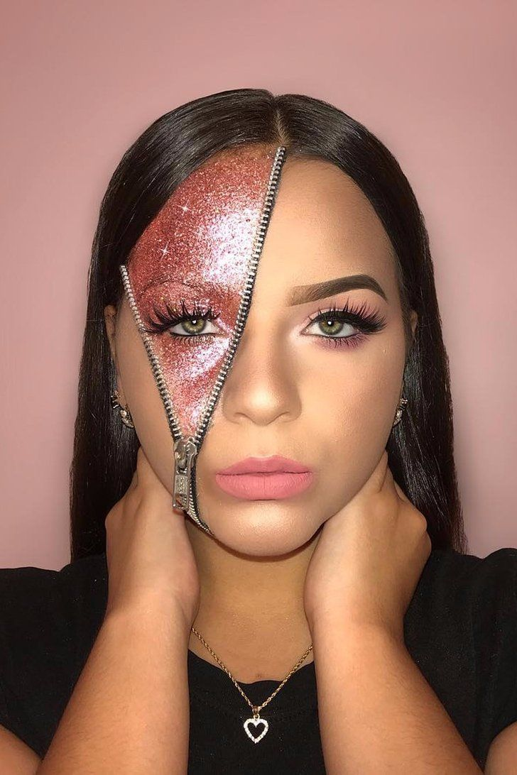 Maquillage Halloween Zipper.Show The World What Your Soul Is Really Made Of With Glitter Zipper Makeup Amazing Halloween Makeup Glitter Halloween Makeup Cute Halloween Makeup