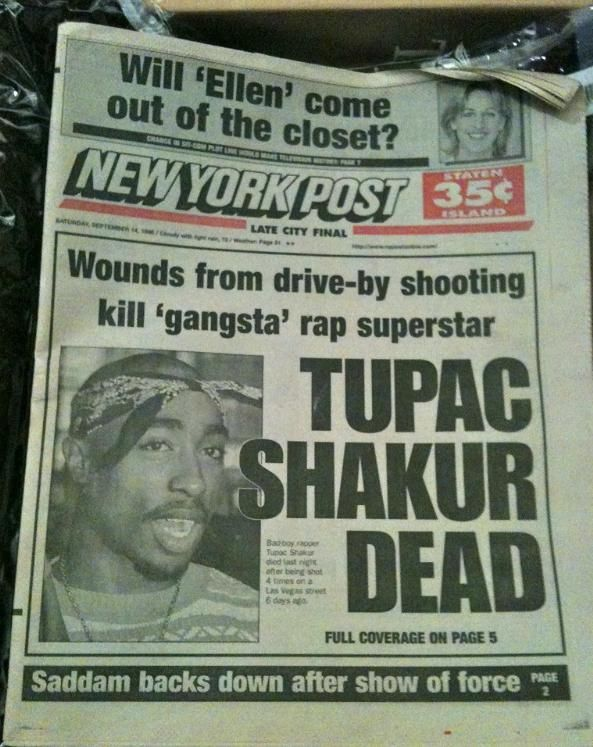 Tupac dead - Newspaper - Hip hop ya don't stop