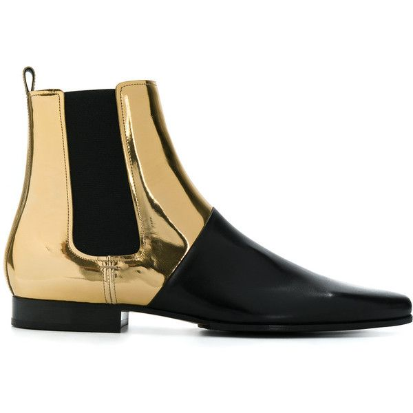Balmain metallic chelsea boots ($918) ❤ liked on Polyvore featuring men's fashion, men's shoes and men's boots