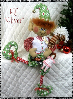 "Primitive Raggedy Christmas LG. ELF ""OLIVER"" 26"" Toy Maker Elf w/Toy Ornies"